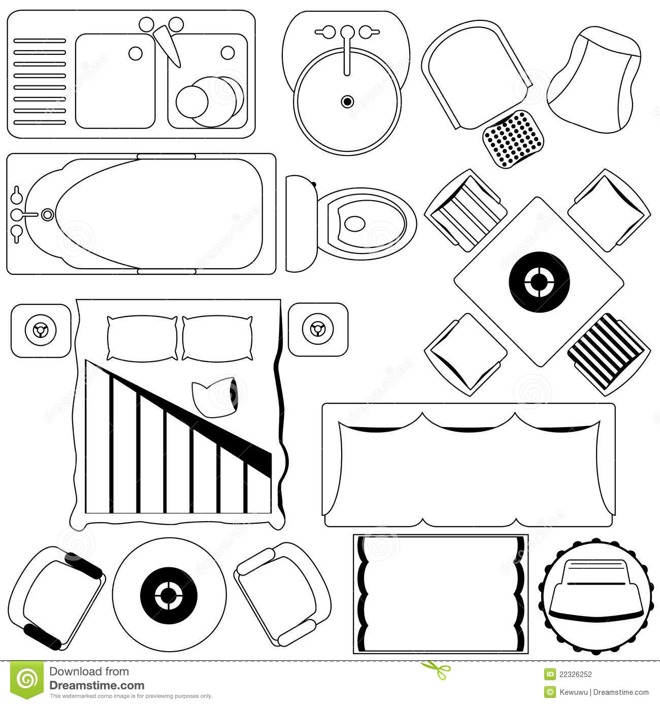 Simple Furniture Floor Plan Outline Stock Vector