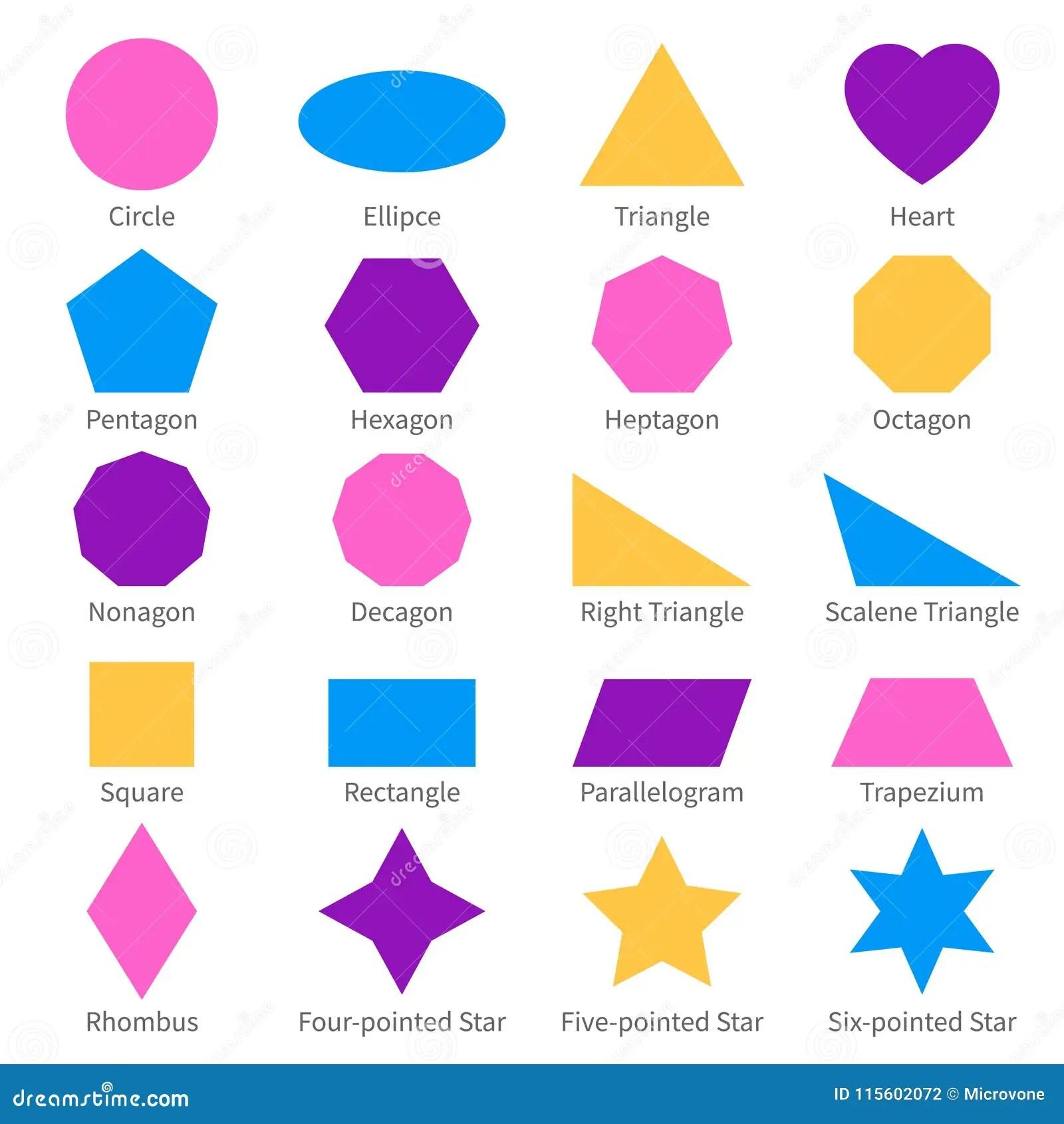 Simple Geometric 2d Shapes School Geometry Vector Diagram