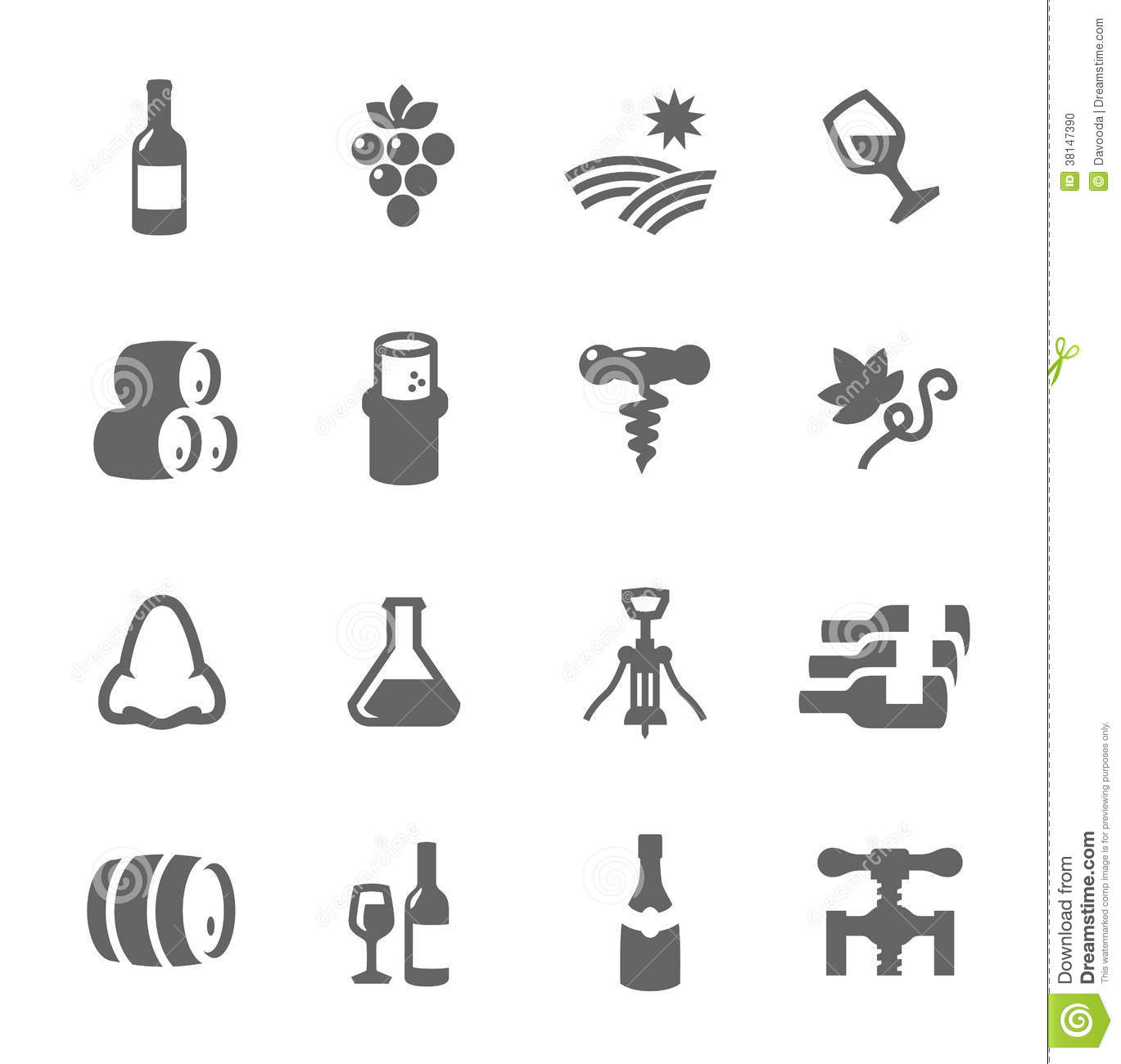 Simple Icon Set Related To Wine Production Stock Photo