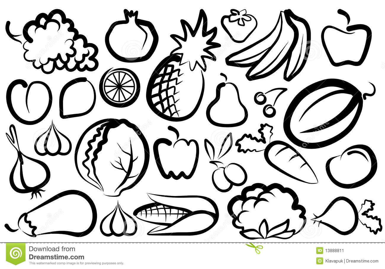 Simple Images Of Vegetables And Fruit Stock Vector