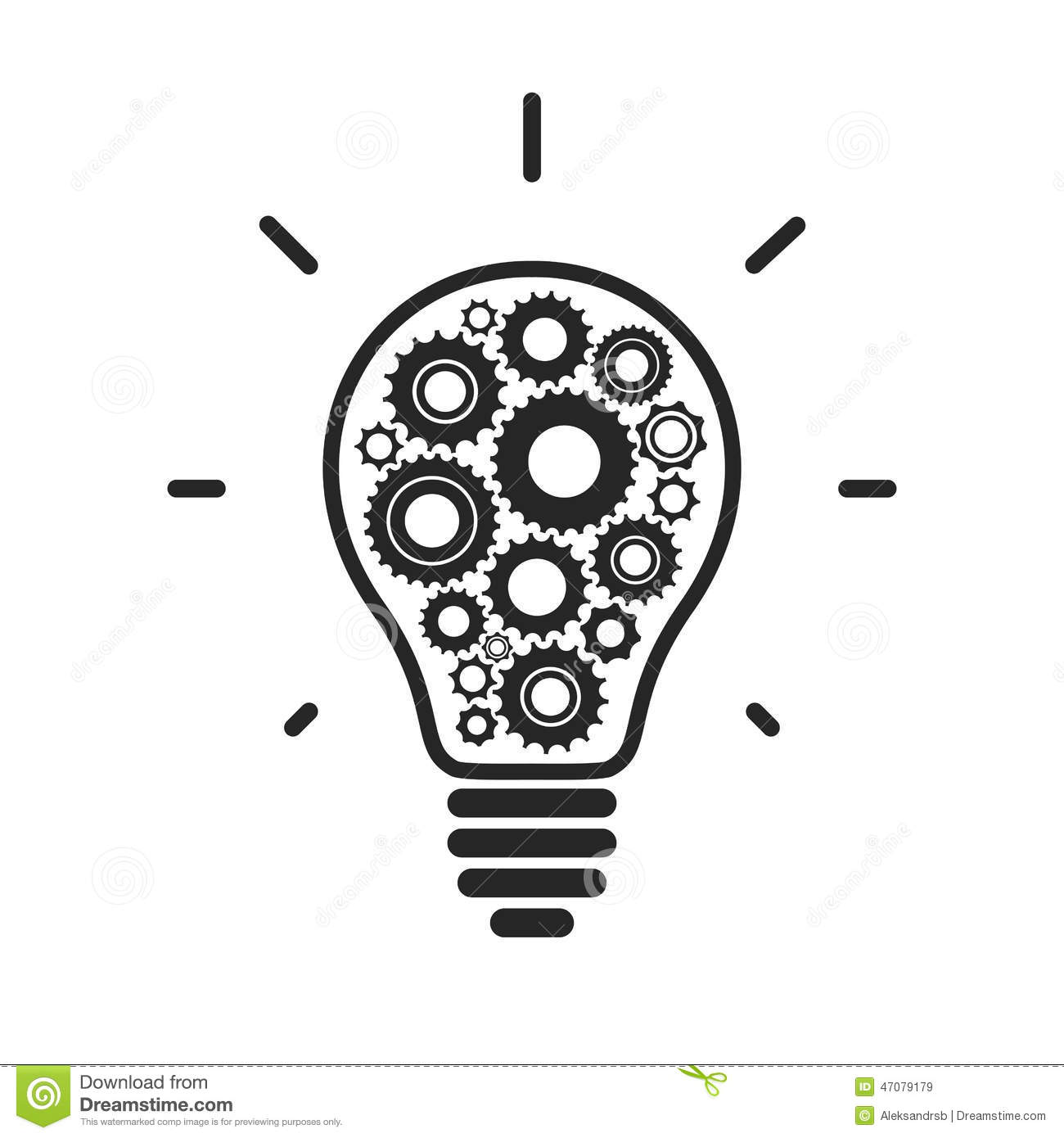 Simple Light Bulb Conceptual Icon With Gears Stock Vector