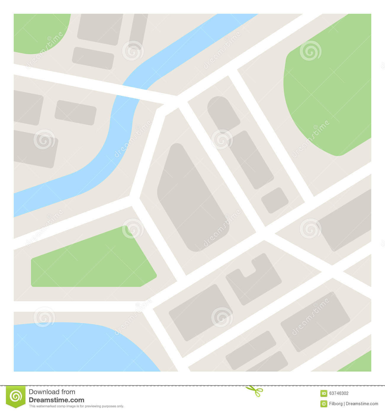 Simple Map Illustration Stock Vector