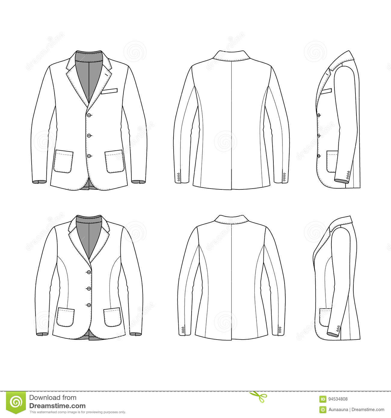 Simple Outline Drawing Of A Blazer Stock Vector