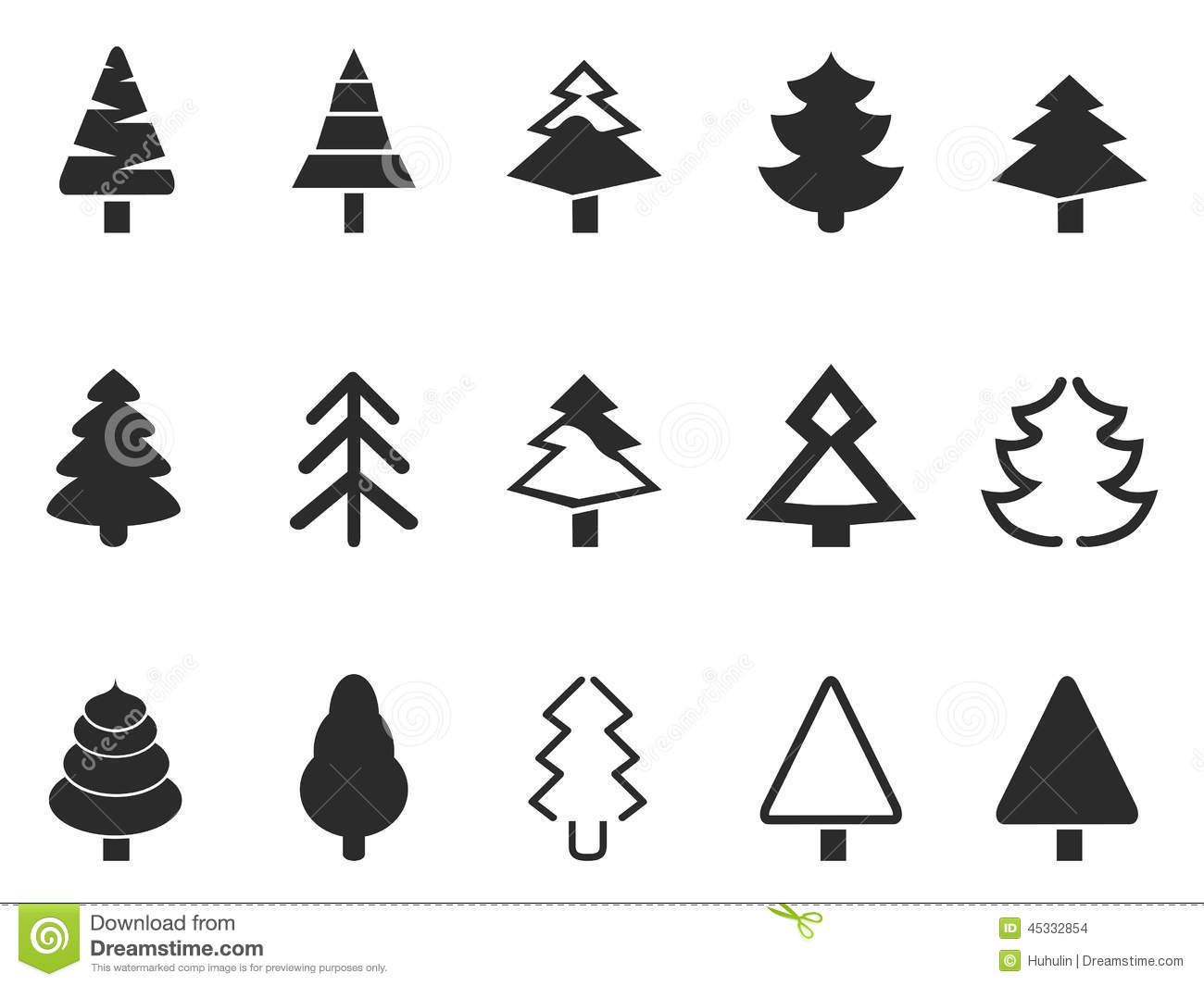 Simple Pine Tree Icons Set Stock Vector Illustration Of