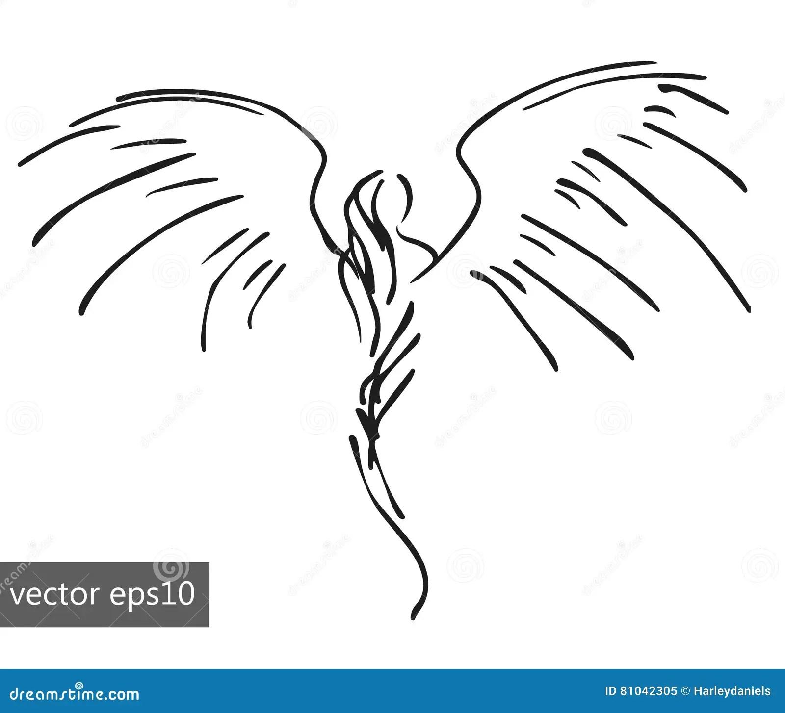 Simple Pinstriping Angel Cartoon Vector