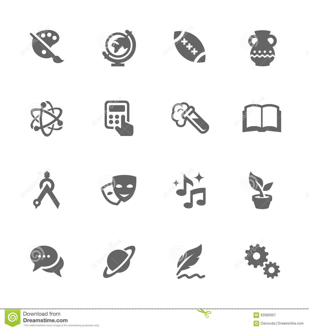 Simple School Subject Icons Stock Vector