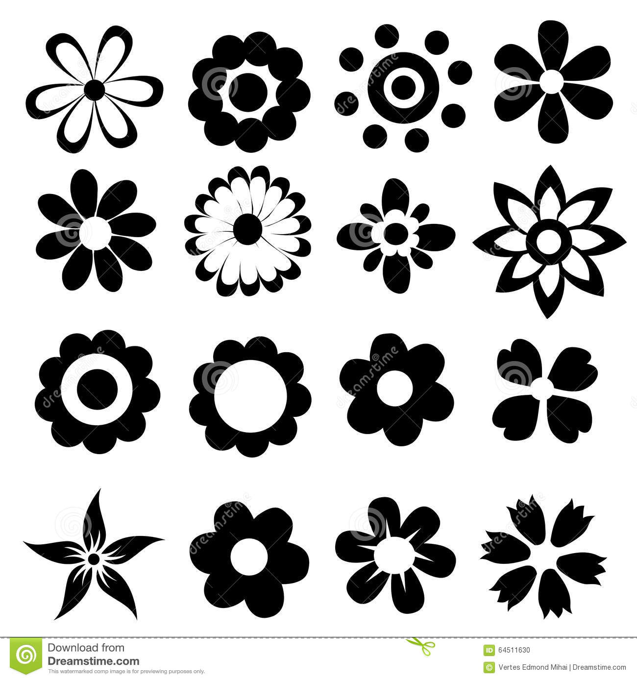 Simple Vector Flowers Stock Vector Illustration Of