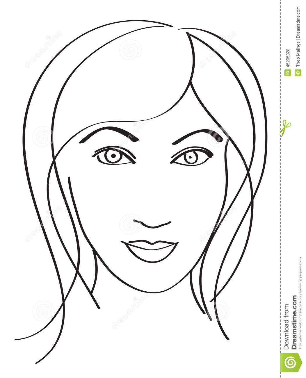 Simple Woman S Face Stock Vector Illustration Of