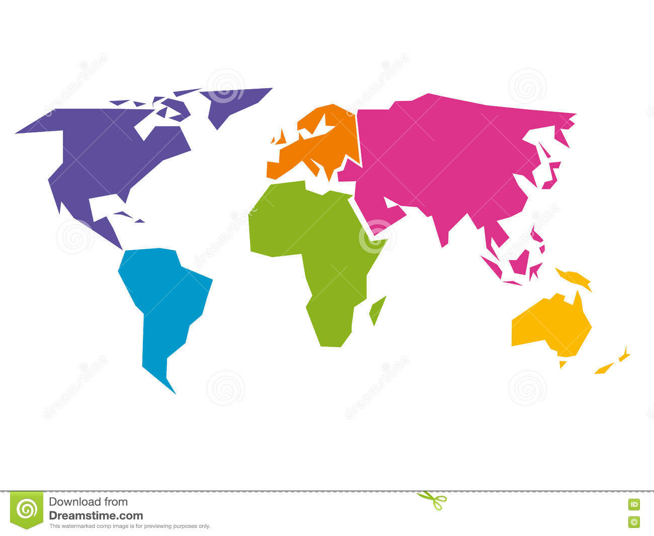 Simplified World Map Divided To Six Continents In