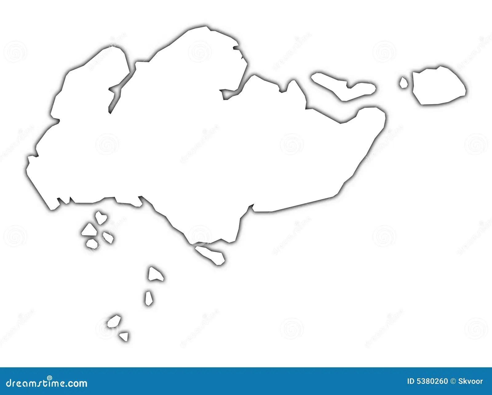 Singapore Outline Map Stock Illustration Illustration Of