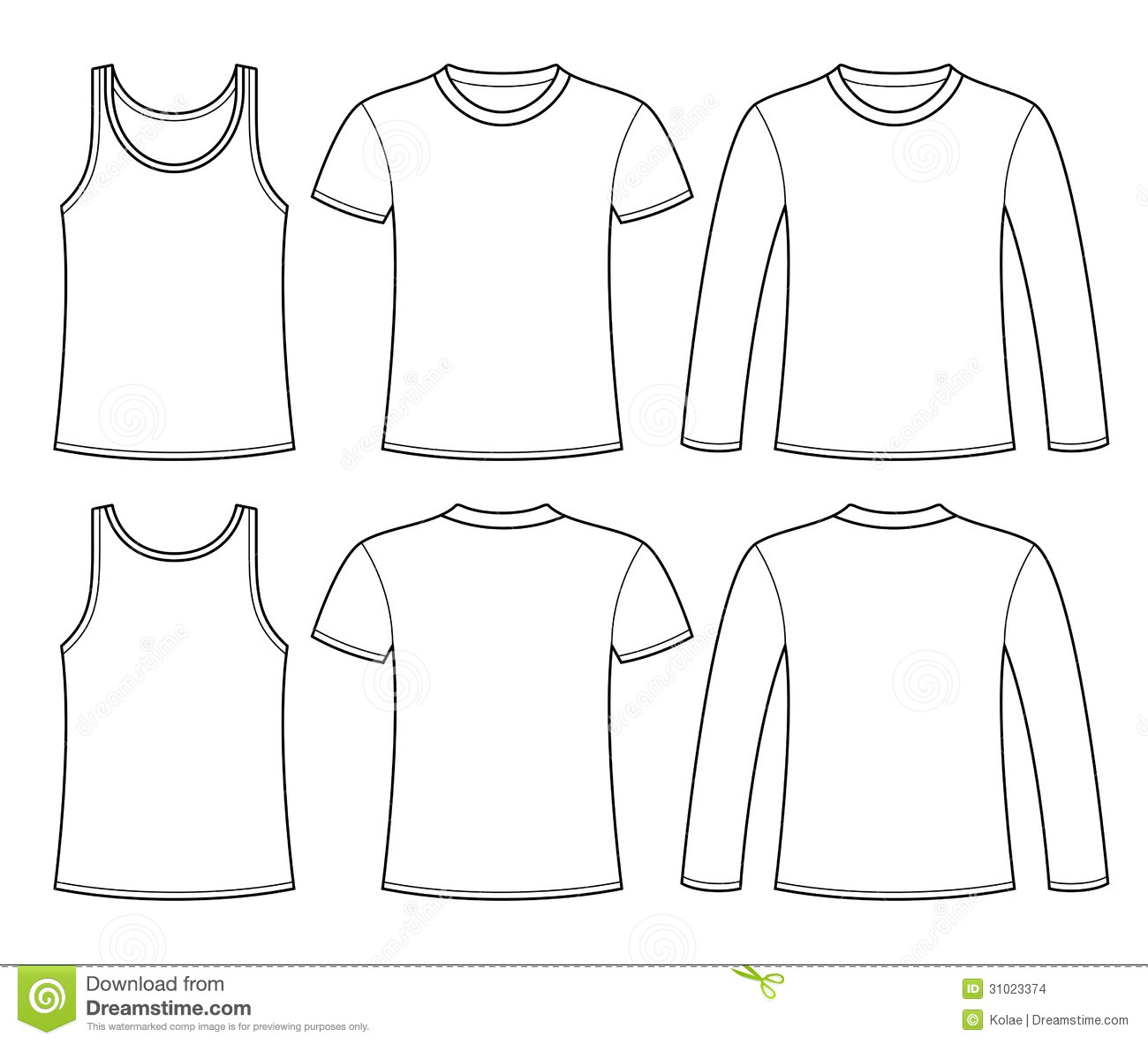 Singlet T Shirt And Long Sleeved T Shirt Template Stock Vector