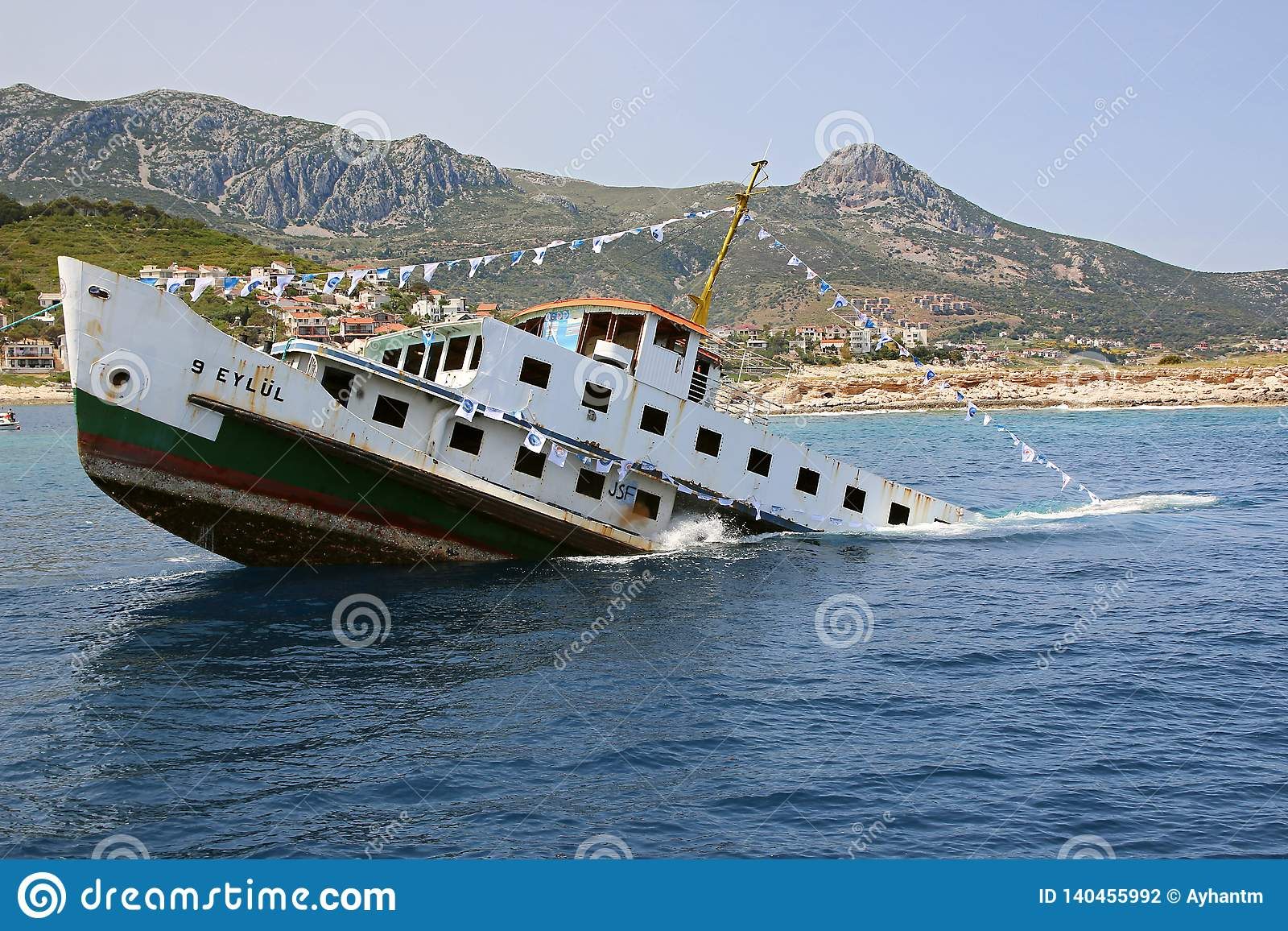 Sinking Ship For Diving Tourism Editorial Photography