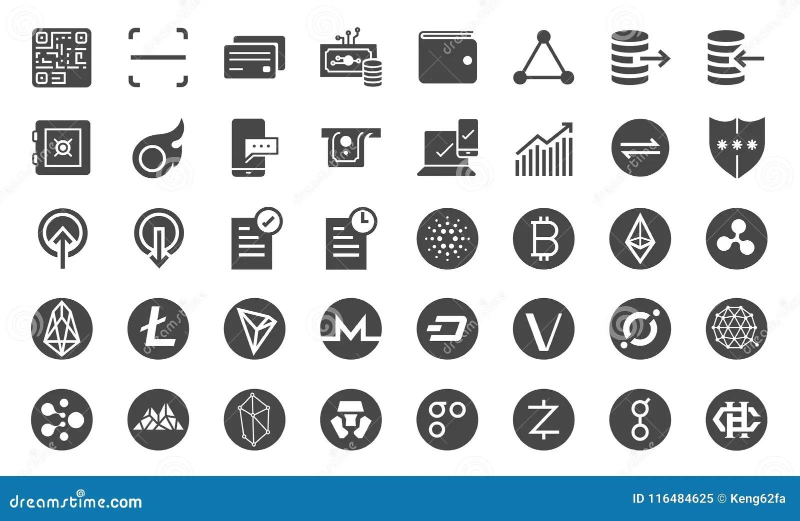 Sistema Comercial Del Icono De Cryptocurrency Incluyo Los