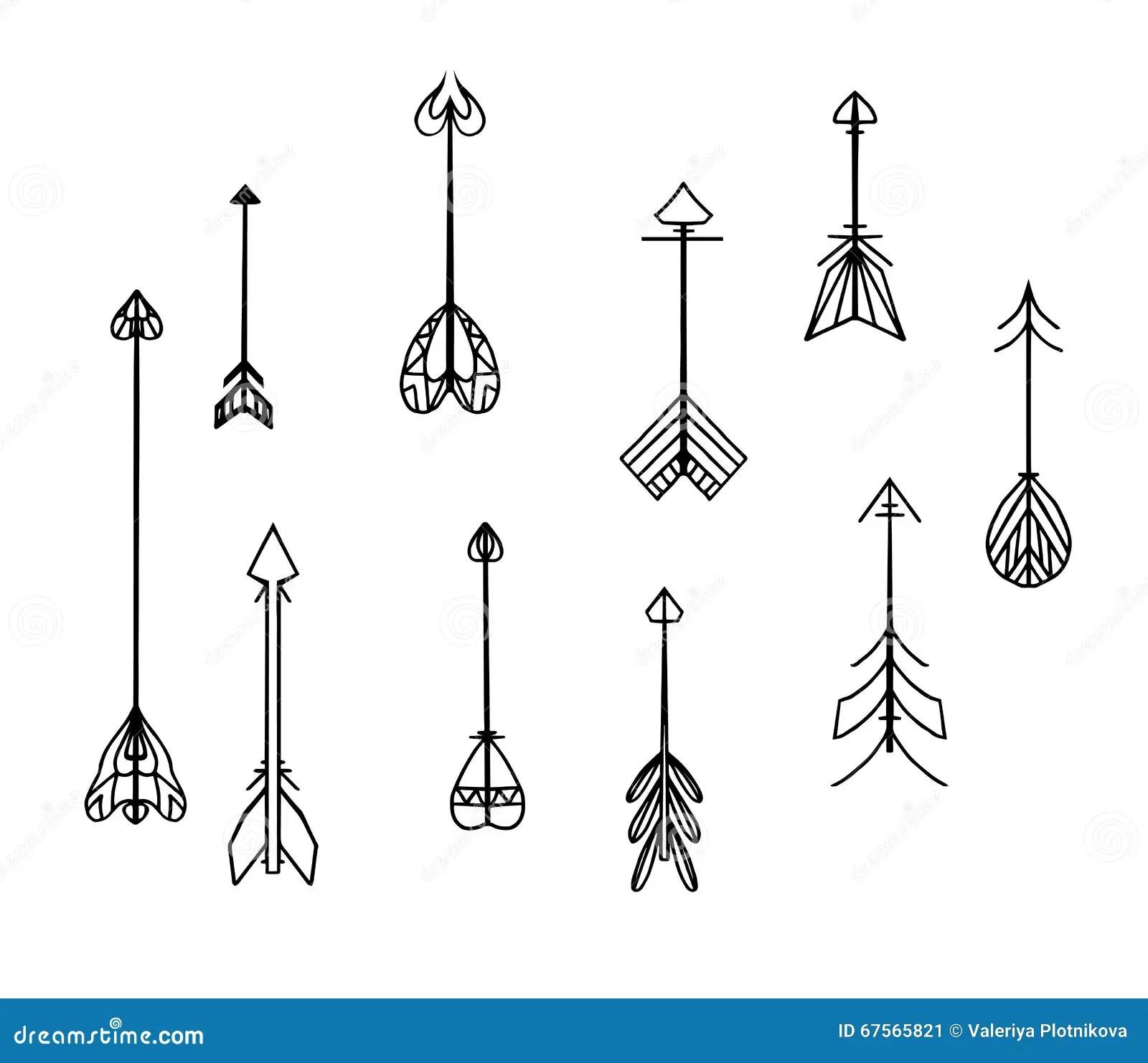 Sistema De Flechas Blancos Y Negros Del Boho Ilustracion