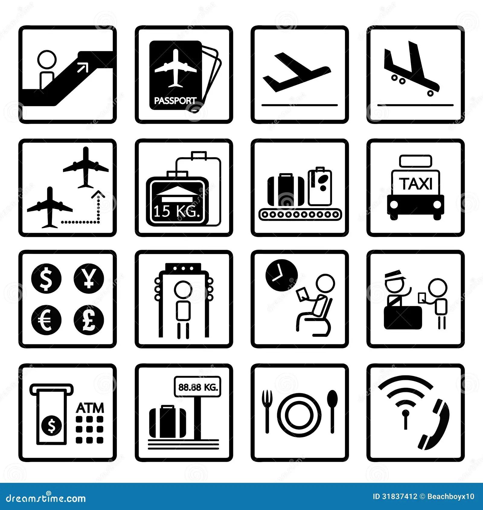 Sistema Del Diseno De Los Iconos Del Aeropuerto Stock De