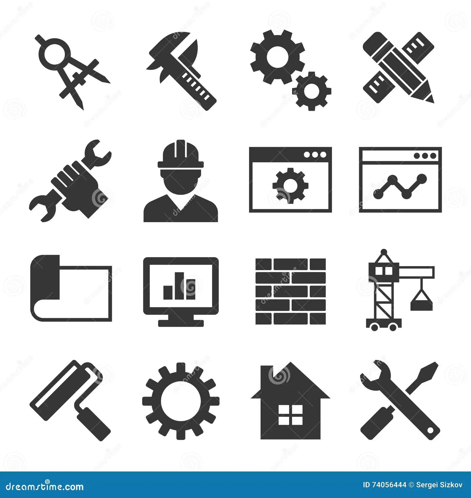 Sistema Del Icono De La Ingenieria Vector Ilustracion Del