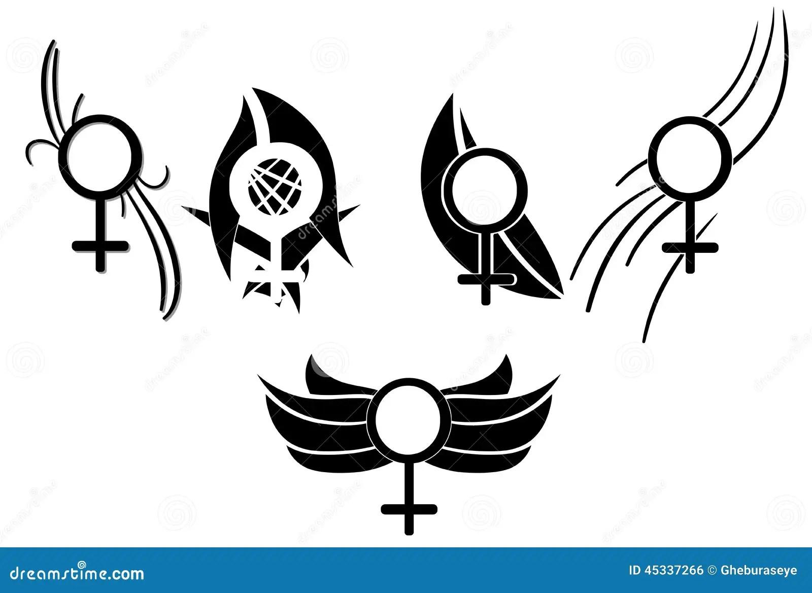 Sistema Del Tatuaje De Los Simbolos De La Mujer Stock De
