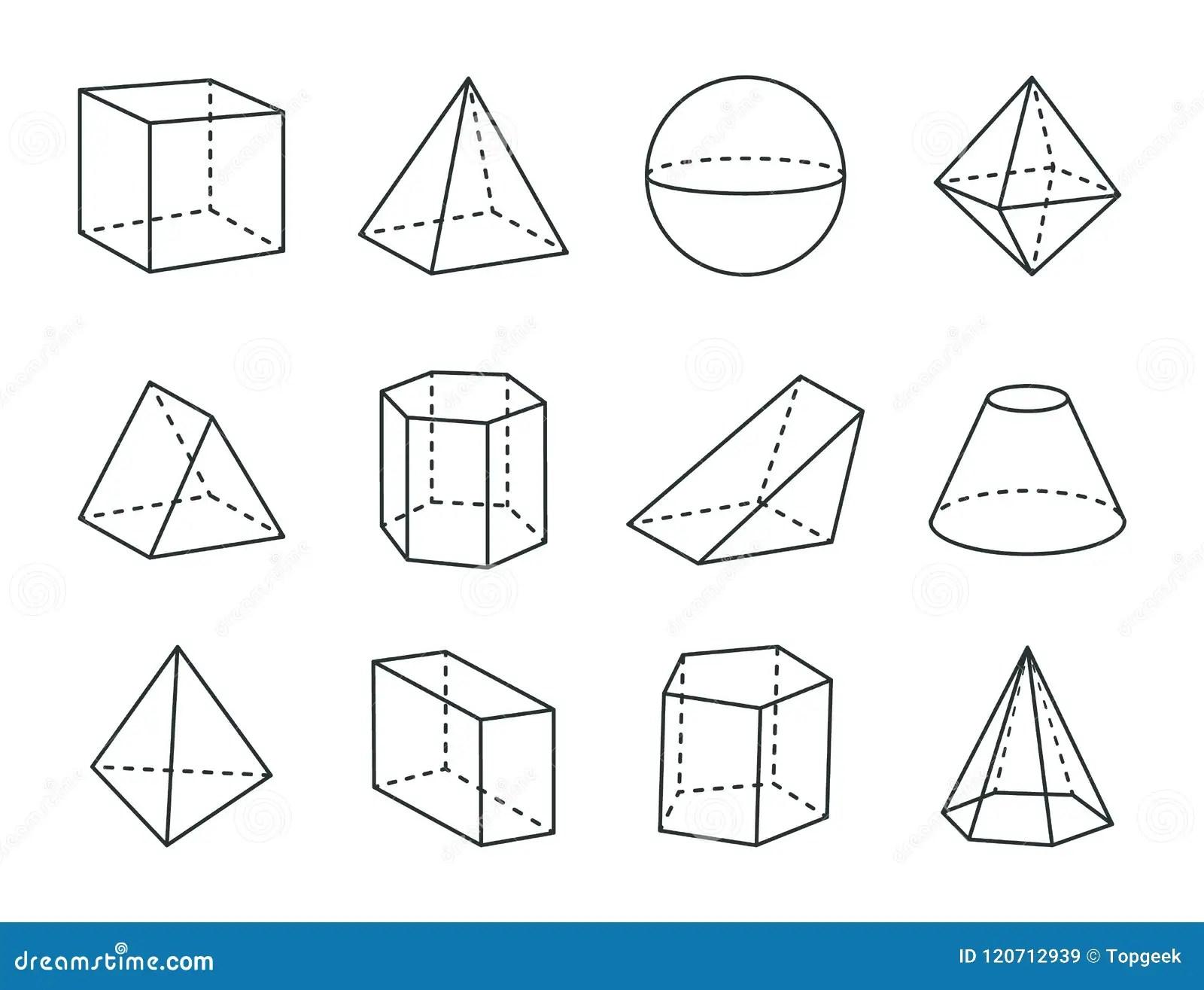 Sistema Geometrico De La Prisma Figuras Variadas Dibujo