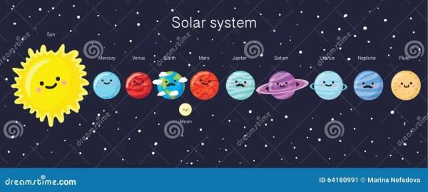 Sistema Solare Con I Pianeti, Il Sole E La Luna Sorridenti ...