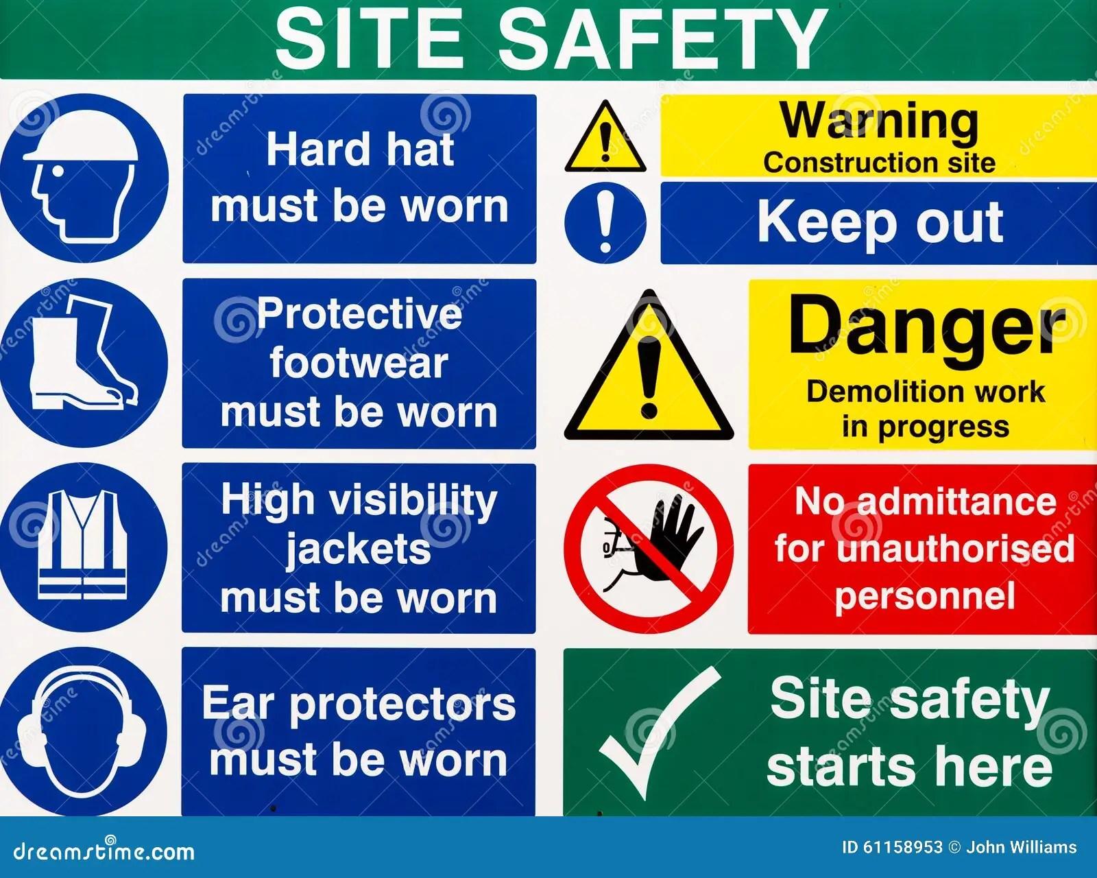 Site Saftey Warning Signs Stock Image Image Of Hazard