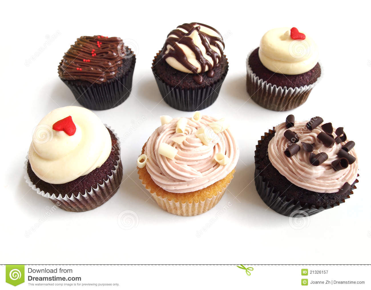 Six Assorted Cup Cakes Stock Image Image Of Black Bake