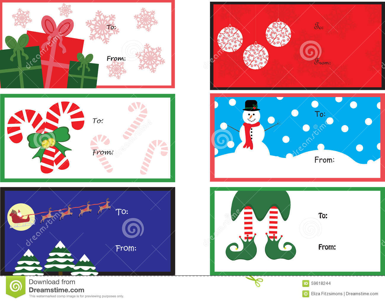 Six T Tags Stock Vector Image Of Christmas Tags