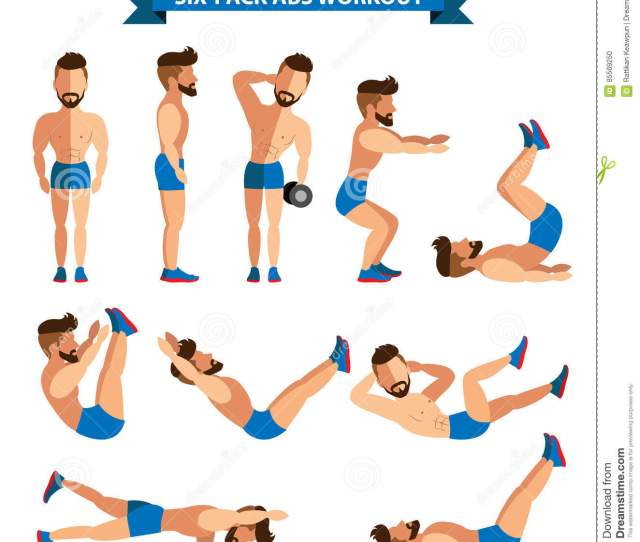 Six Pack Abs Workout For Men Stock Vector Illustration Of Sport