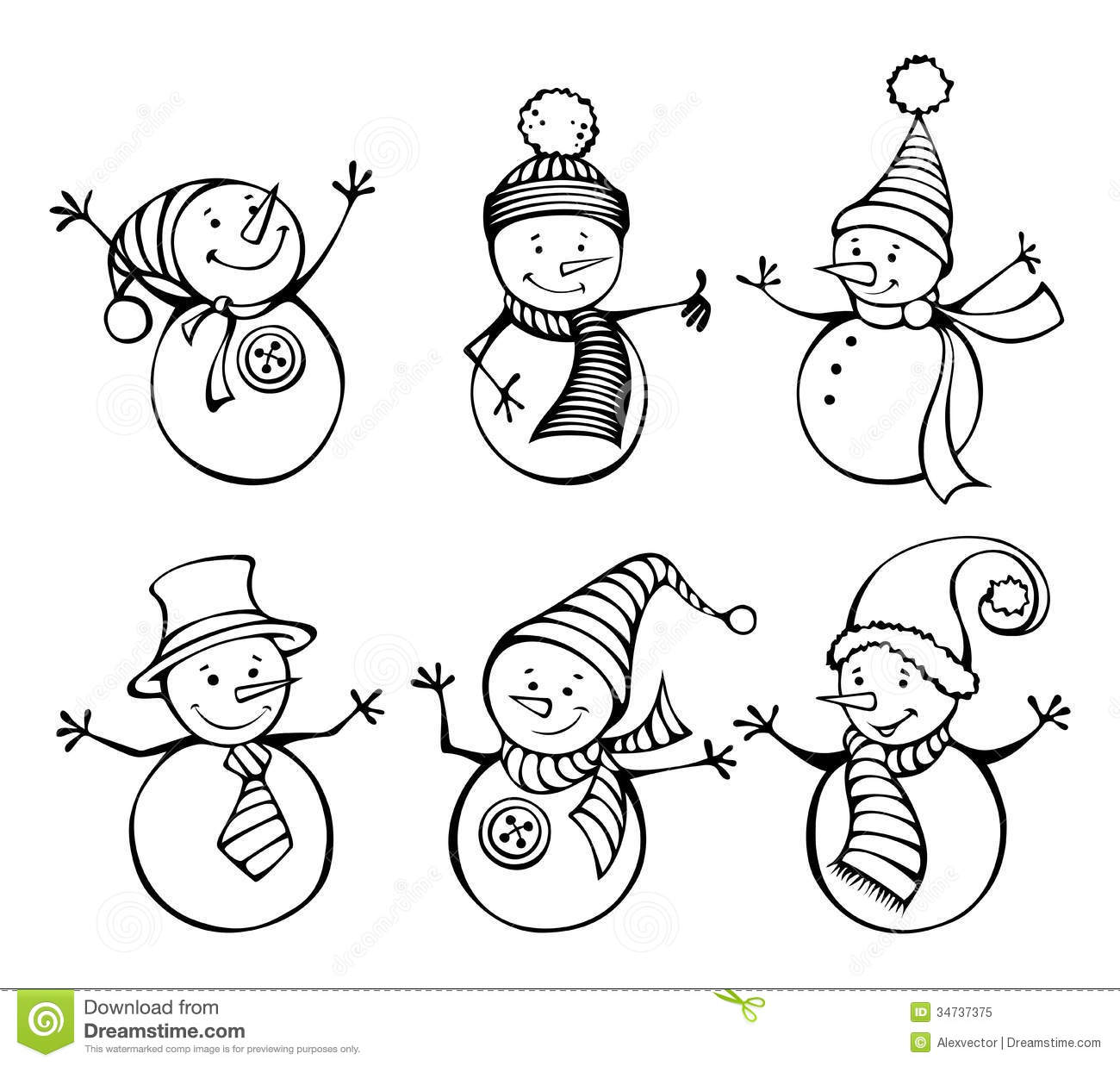 Six Snowmen Isolated On White Background Stock Vector