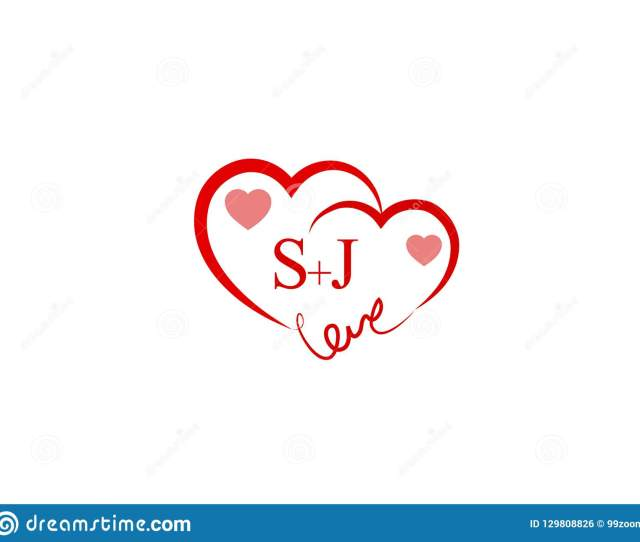 Sj Initial Heart Shape Red Colored Logo