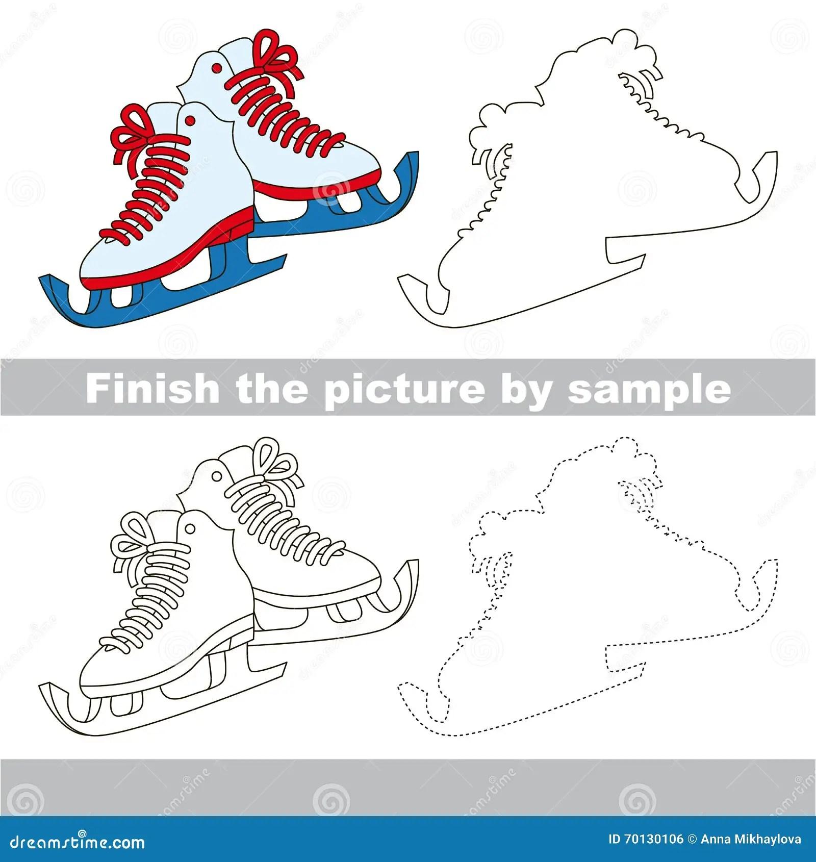 Skates Drawing Worksheet Stock Illustration