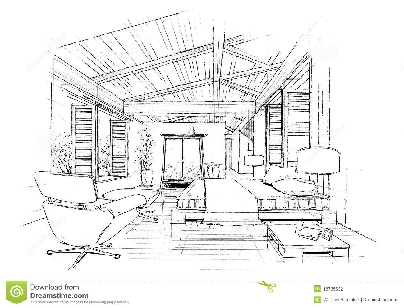 Sketc Interieur D Horizontal De Construction D