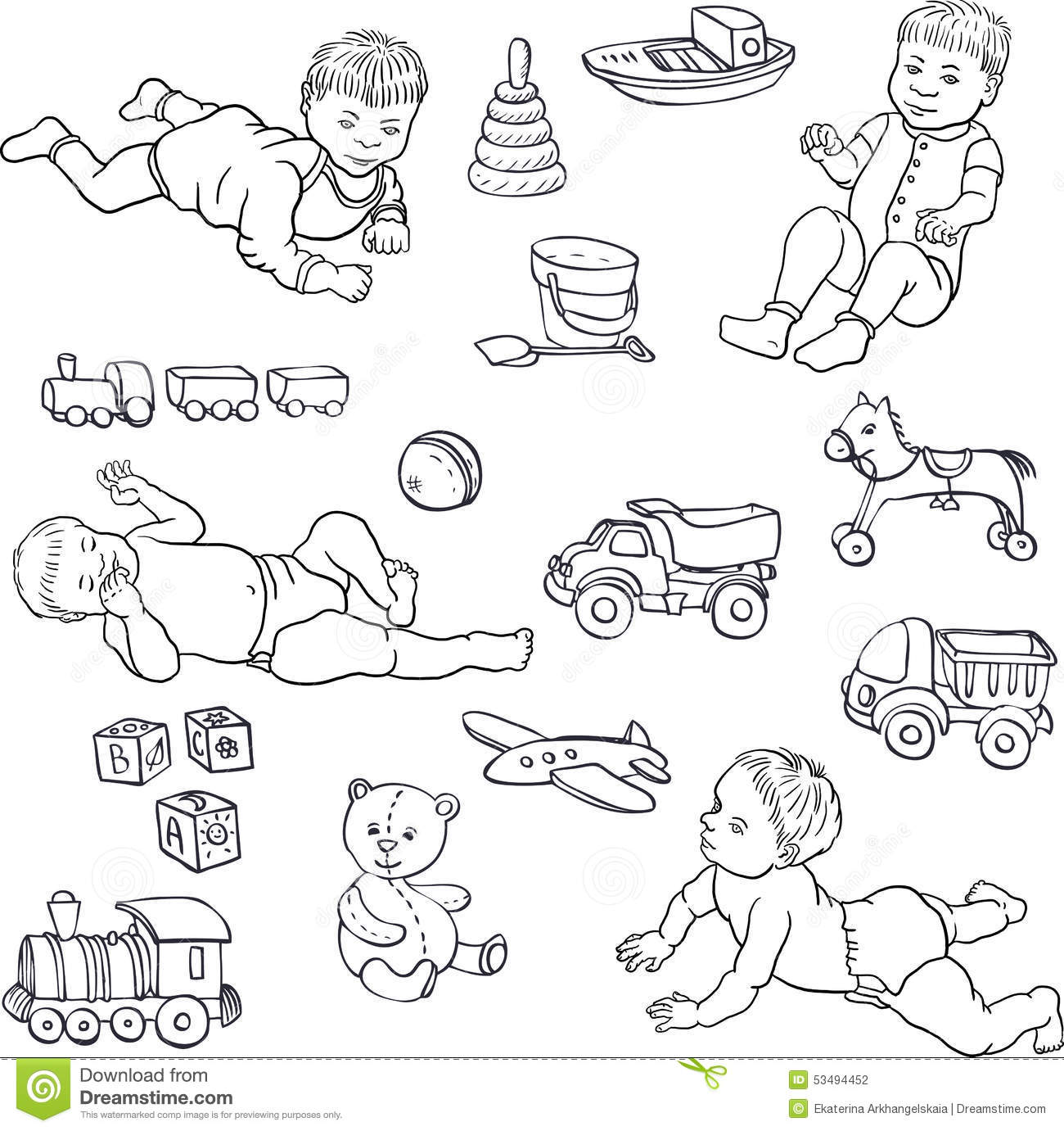 Sketch Of Babies And Toys Stock Vector Illustration Of