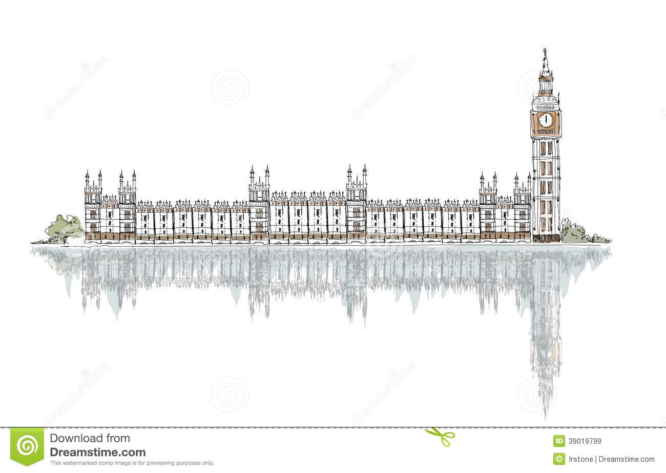 Sketch Big Ben And Houses Of Parliament Stock Vector