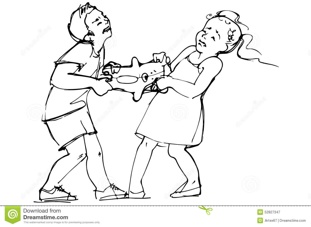 Sketch Of Boy And Girl Children Are Fighting Over A Toy