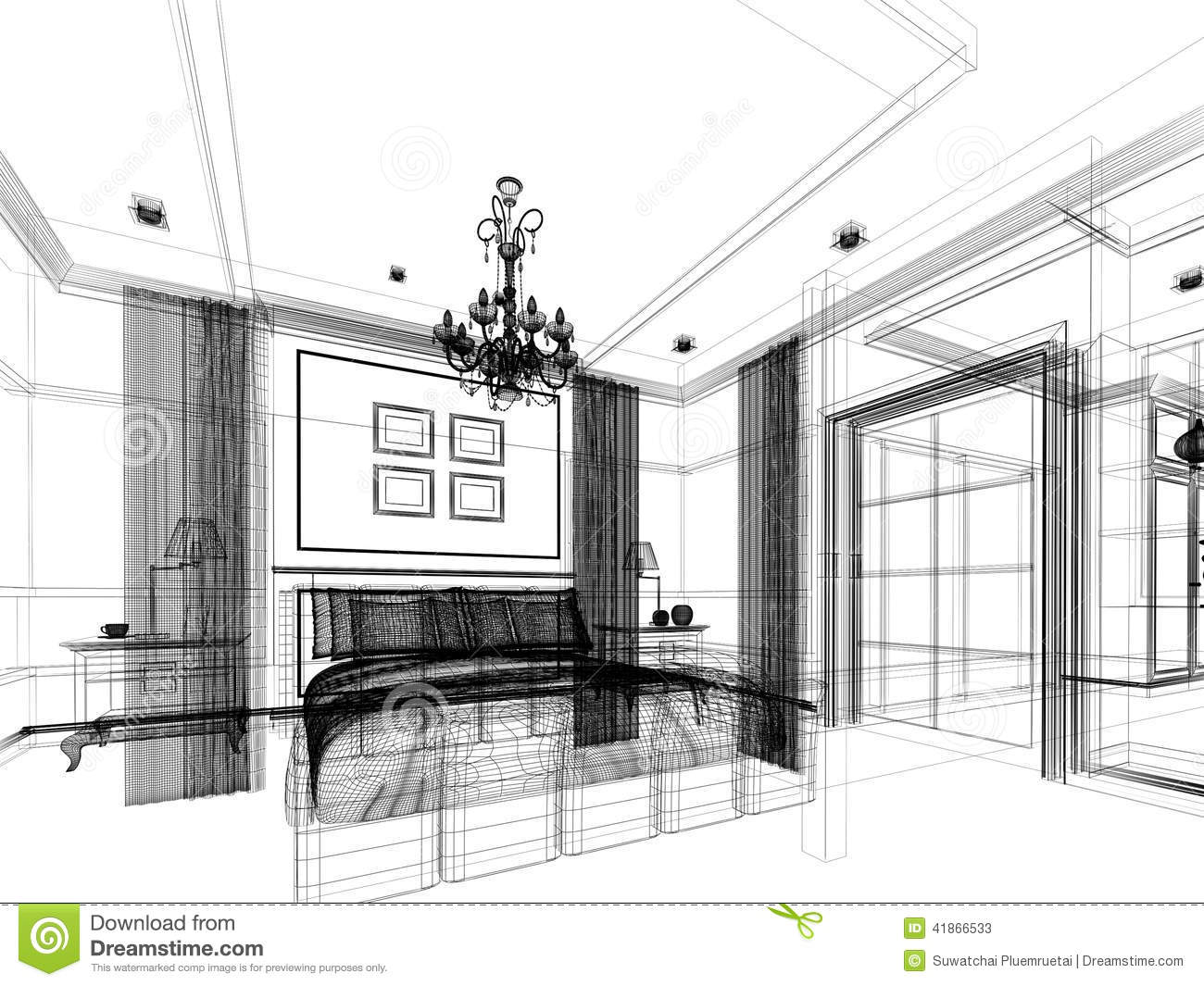 Sketch Design Of Bedroom 3d Render Stock Illustration