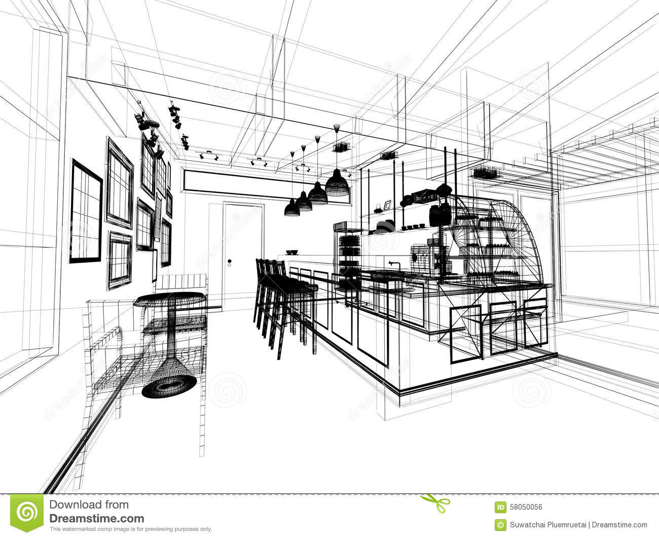 Sketch Design Of Coffee Shop Stock Illustration