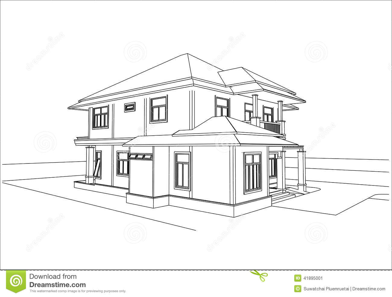 Sketch Design Of House Vector Stock Vector