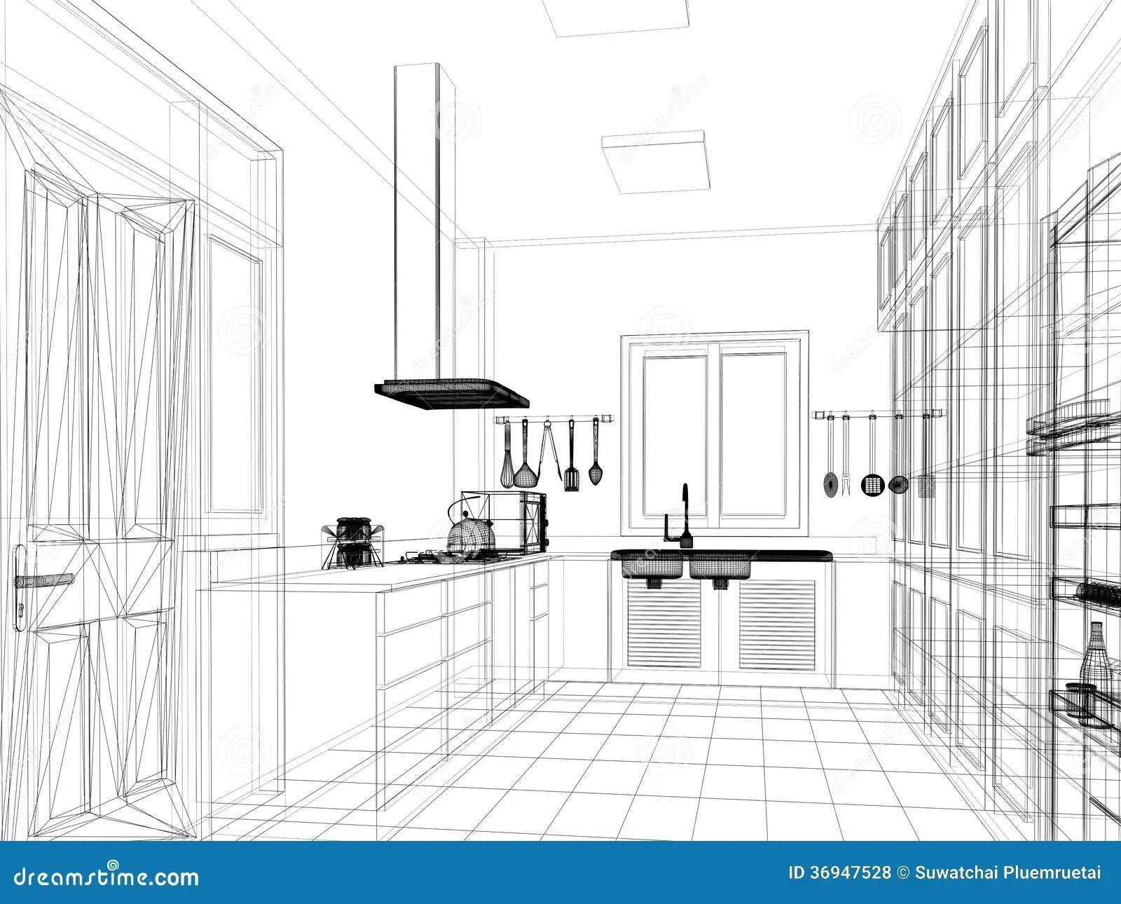 Sketch Design Of Interior Kitchen Stock Illustration