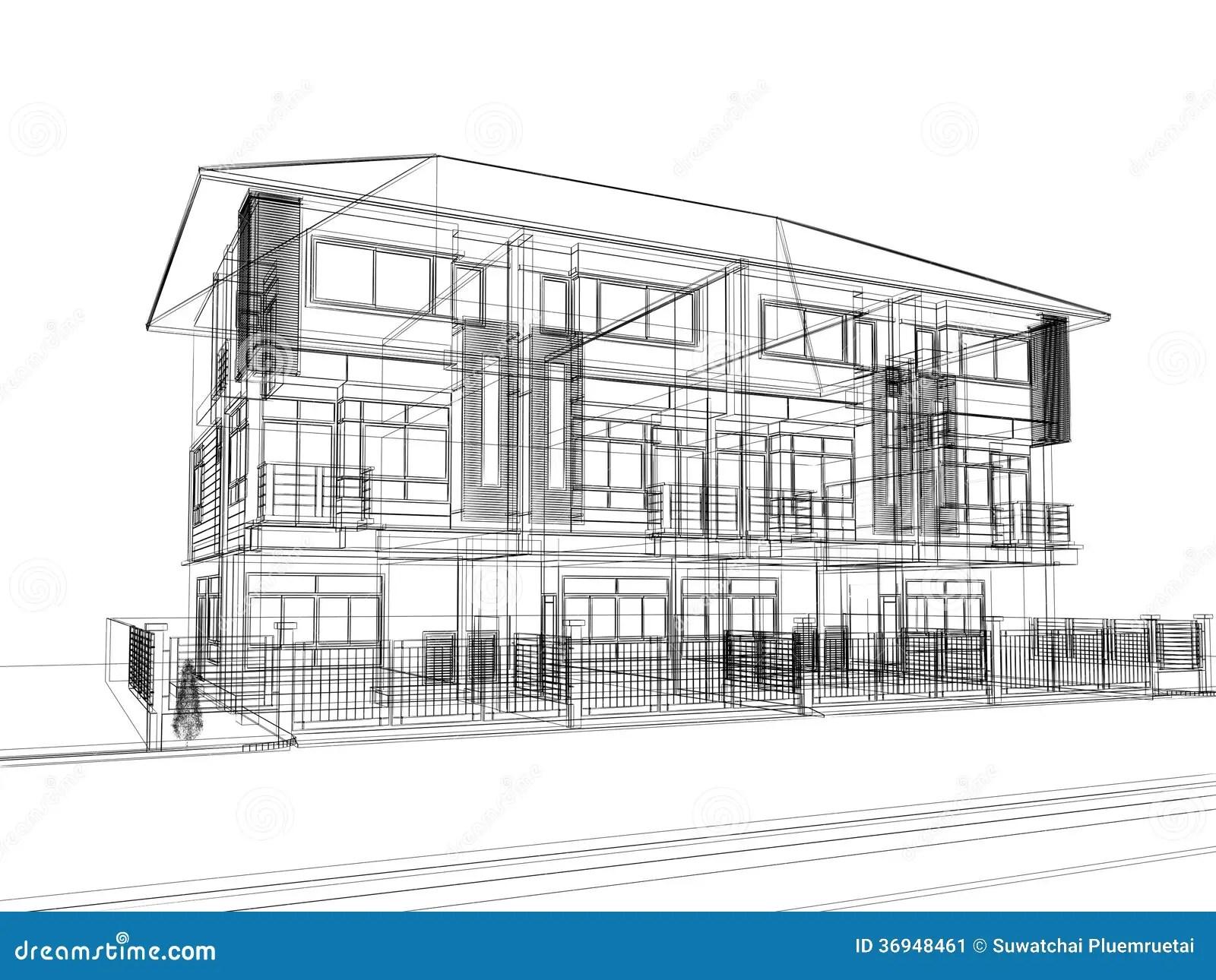 Sketch Design Of Town Home Stock Illustration
