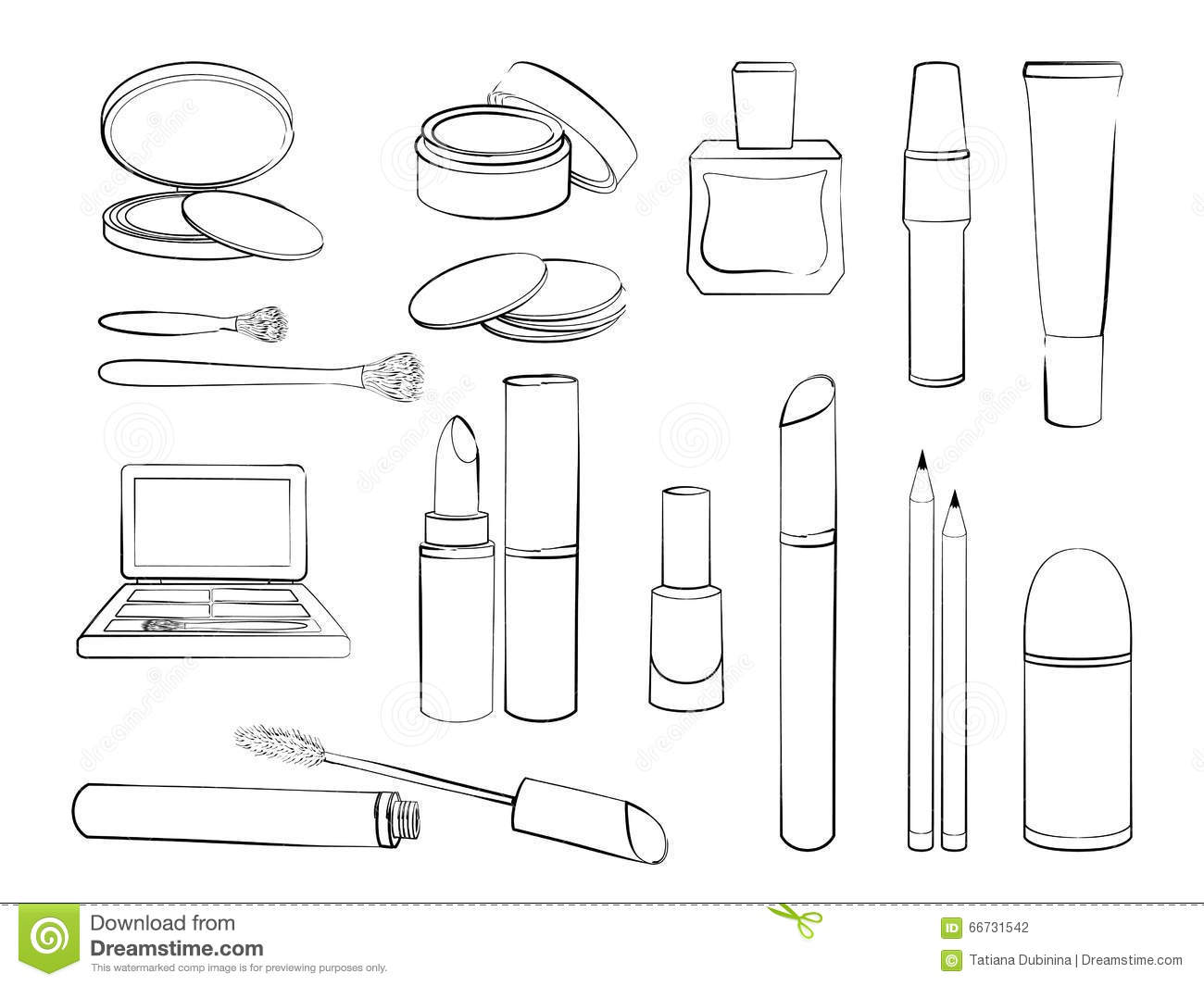 Make Up Outline Coloring Pages Sketch Coloring Page