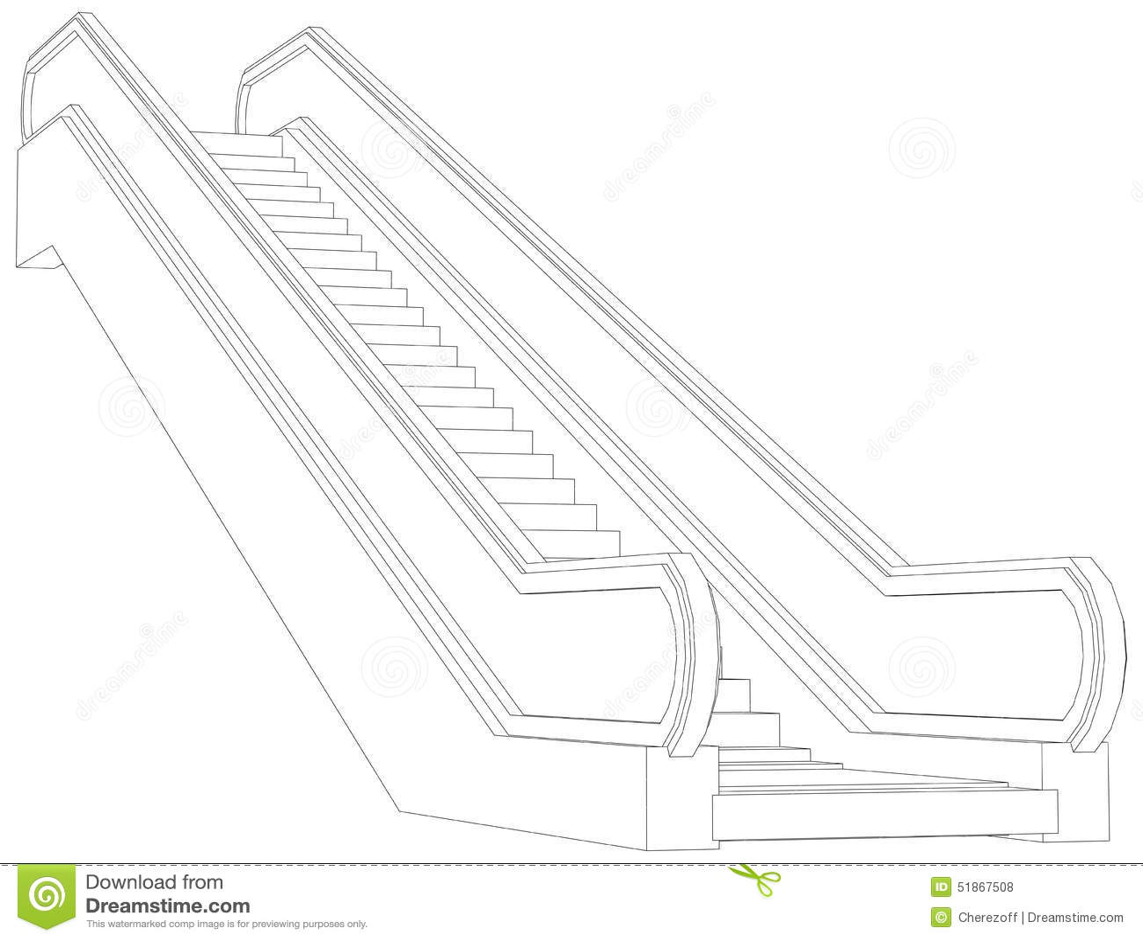 Sketch Of Escalator Vector Illustration Stock Vector