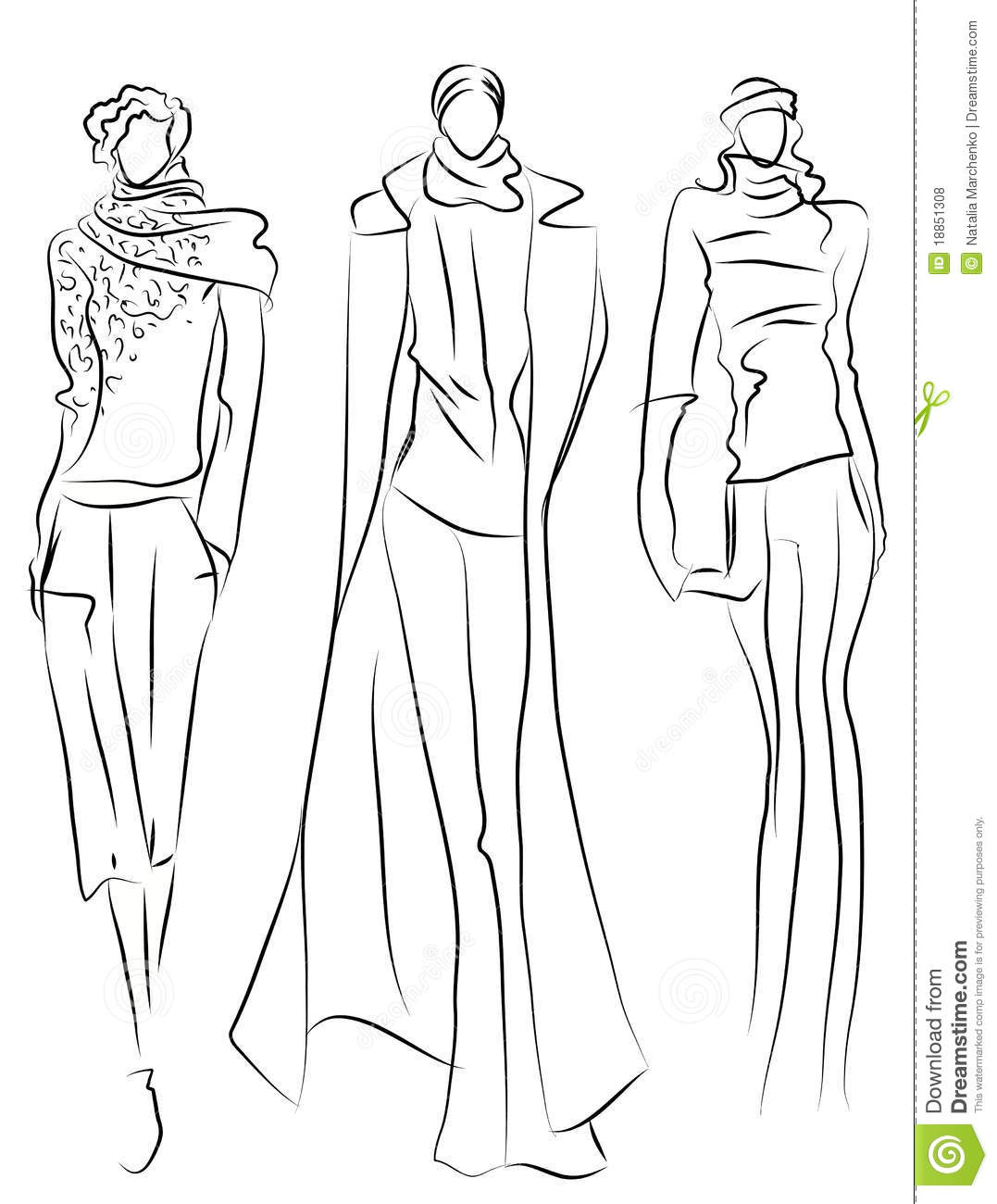 Sketch Of Fashion Suits Stock Vector Illustration Of