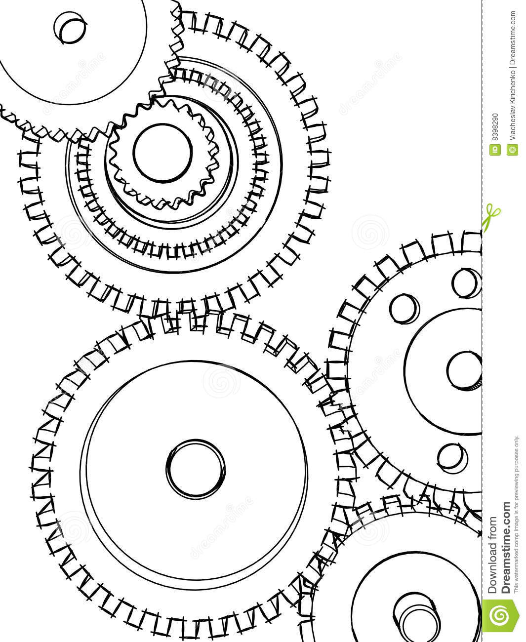 Sketch Gears Stock Illustration Illustration Of Graphic