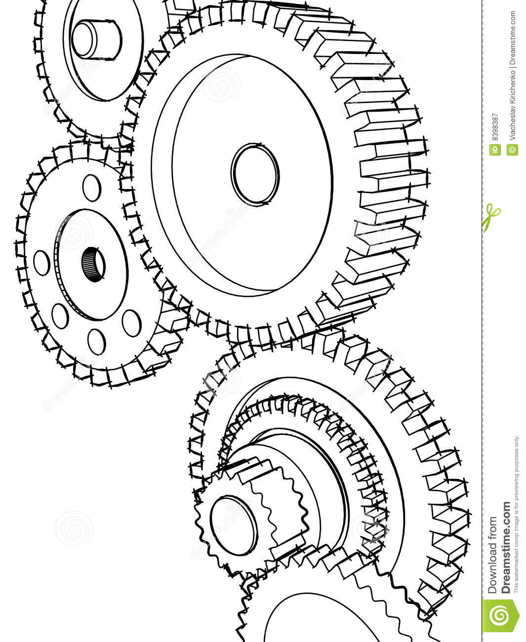 Sketch Gears Royalty Free Stock Photography