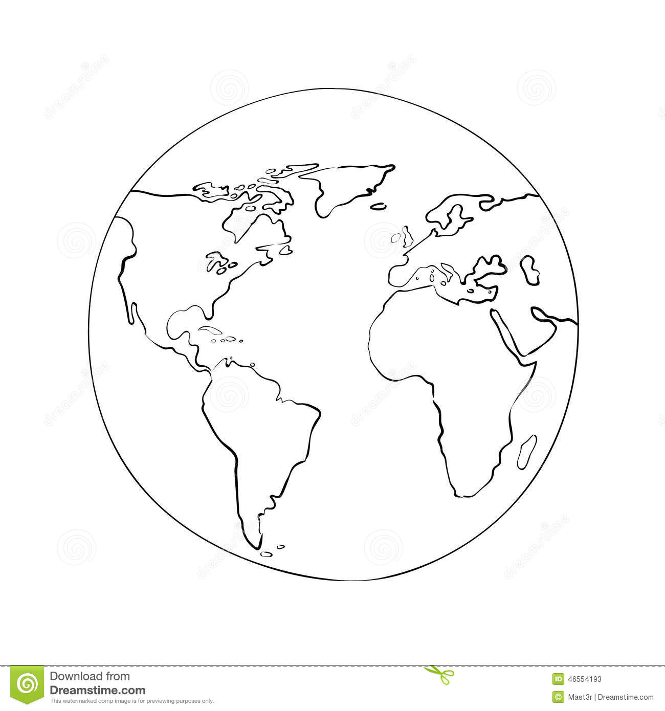 Sketch Globe World Map Black Vector Illustration Stock
