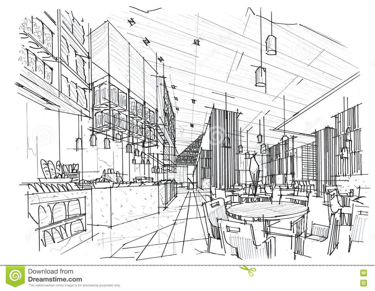 Sketch Interior Perspective All Day Amp Restaurant Black