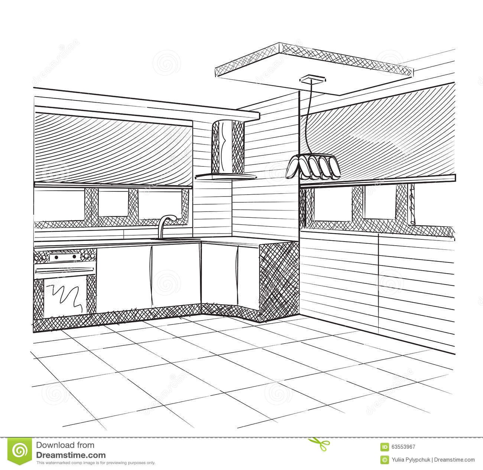 Sketch Of A Kitchen Interior Stock Vector