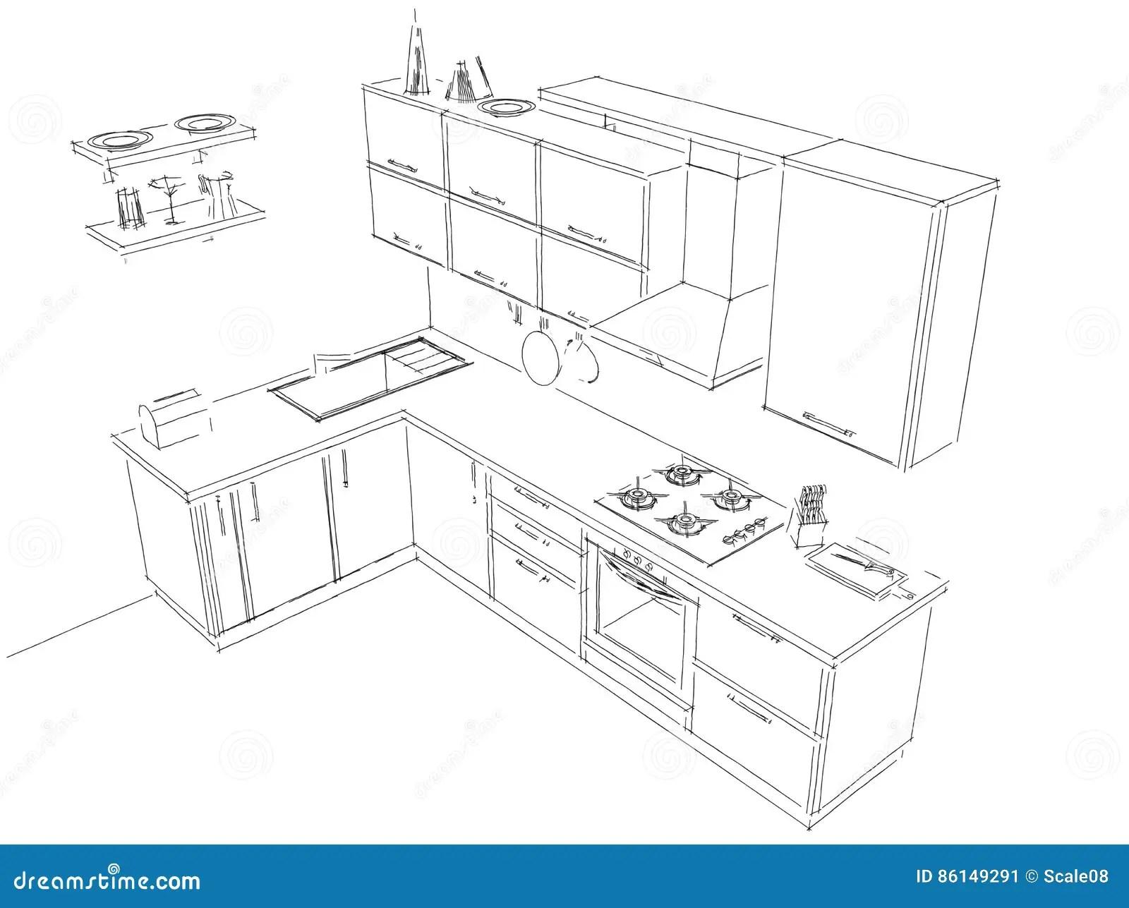 Sketch Layout Drawing Of 3d Modern Corner Kitchen Interior