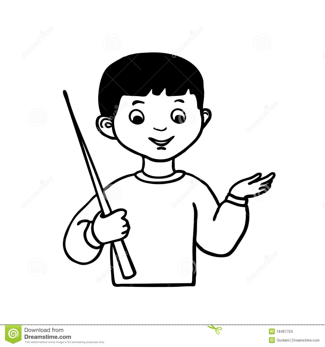 Sketch Little Boy With Hand Pointer Stock Vector