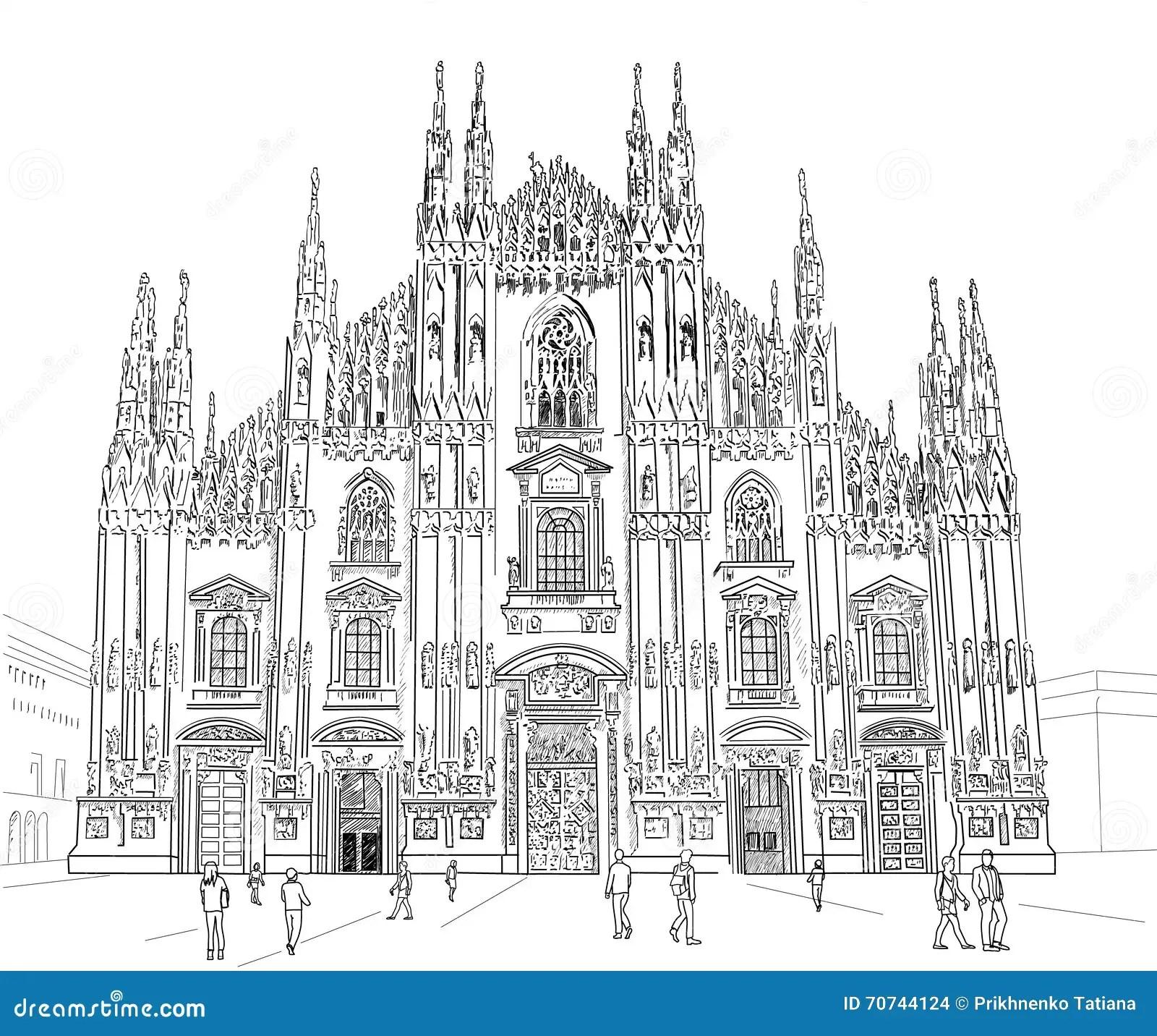 Duomo Milan Italy Vector Illustration Cartoon Vector